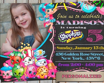 Shopkins Invitation, Shopkins Invite, Shopkins Themed Birthday Party, Personalized, Printable, Digital file, Thank you card free