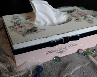 Tissue box cover, Vintage, Gift, Rustic Box, Kleenex Box, Home sweet Home, Pink Rose, Flower, Home and Living, Home decor, Kitchen Decor,