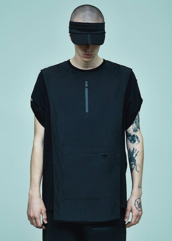 Futuristic Oversized Alternative Shirt Shirt Nylon Clothing Clothing T T Shirt Black Streetwear Black Black Apron Women Tee T 7xUw7q81tn
