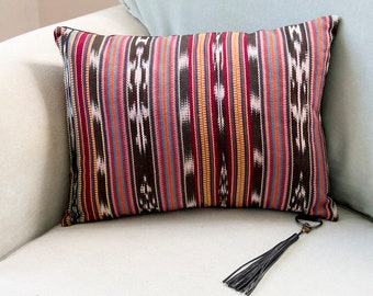 Boho Striped Pillow, Bohemian Cushion, Frida Kahlo Decor, Guatemalan Mexican Woven Pillow, Serape Hippie Accent Pillow with Leather Tassel