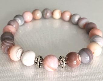 Boho Chic Amethyst Mala Bracelet Crown Chakra Yin Yang Balancing Bracelet Quit Smoking Overcome Panic Attacks 8mm Pink Botswana Agate