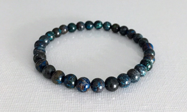 Unisex Gemini Crystal Mala Empower Feminine Energy A Grade Earth Crystal 6mm Chrysocolla Bracelet Connect Higher Self Purifying Aura