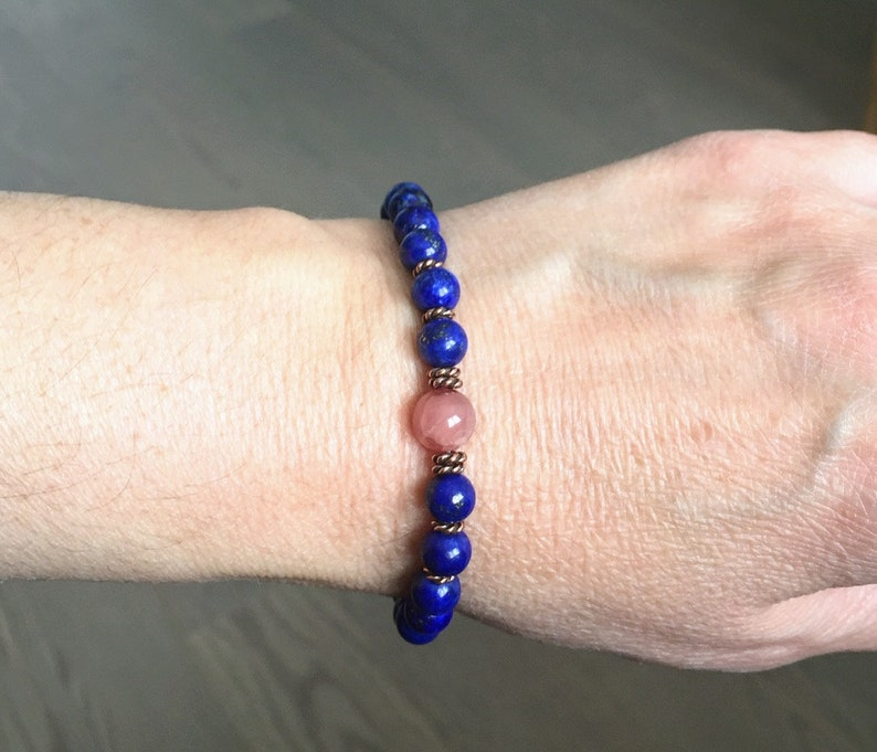 Royalty Bracelet Natural 6mm Lapis Lazuli Bracelet Dainty Rhodochrosite Bracelet Third eye Chakra Bracelet Royalty Honor Protection