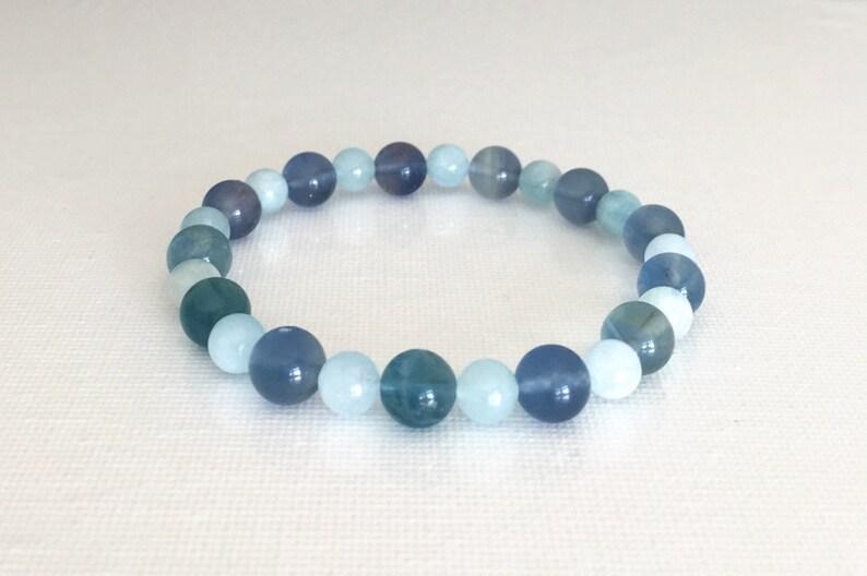 Speak Confidently Bracelet Gift for Teacher Enhance communication Throat Chakra 8mm Blue Fluorite 6mm Aquamarine Blue mala bracelet