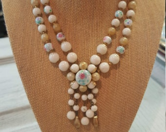 Beautiful Vintage Necklace Multi Strands Floral print
