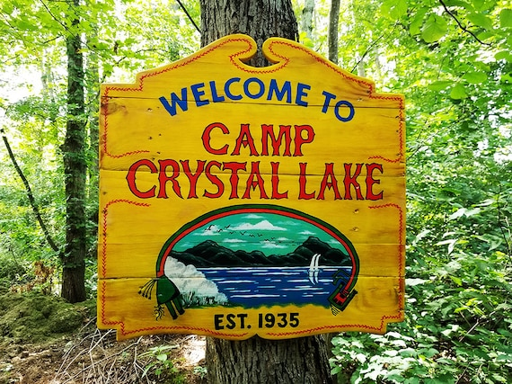 Handcrafted Camp Crystal Lake Reclaimed Wood Sign Friday The