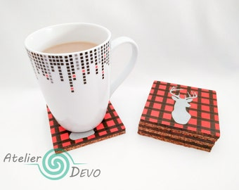 Wooden plaided coasters, silver buck coasters, red and black plaid, colorful coasters, unisex gift, kitchen, living room, woodburning
