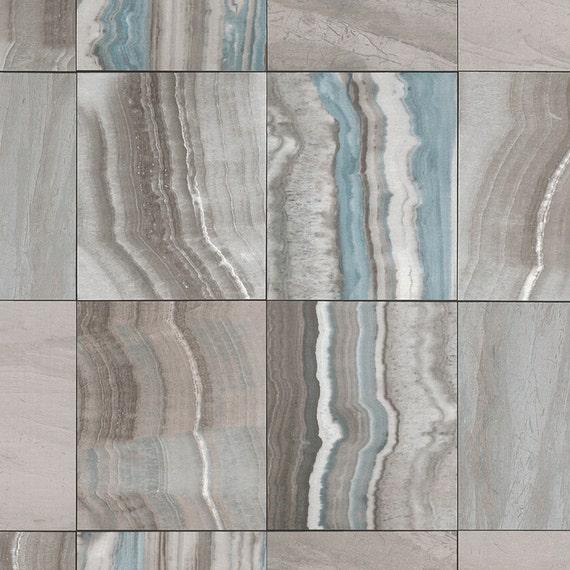 Marmorierte Fliesen Zeitgenössische Tapeten Grau Und Blau R4677