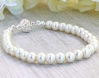 Freshwater pearl bracelet - Wedding pearl bracelet - Freshwater pearl jewelry - Fresh water pearl bracelet - Sterling silver pearl bracelet