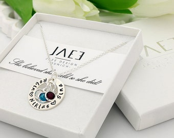 Birthstone Necklace with names - Birthstone necklace for mom - Necklace with names for mom - Birthstone name necklace - Names necklace