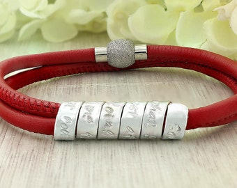 Mothers day bracelet - Personalized gift for Mothers day - Bracelet for mom - Jewelry for Mothers day - Women leather bracelet