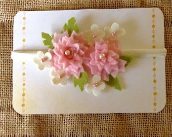 Poppy - Pink Felt Flower Nylon Headband