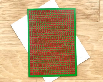 Box of 6 Red & Green Holiday/Christmas Cards - Blank Inside