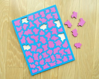 Baby Blue & Pink Wood Puzzle - Painted Wood Laser Cut Puzzle