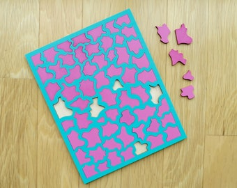 Turquoise & Pink Painted Wood Puzzle