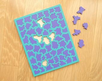 Turquoise & Purple Wood Puzzle - Painted Wood Laser Cut Puzzle
