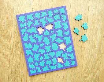 Purple & Turquoise Wood Puzzle - Painted Wood Laser Cut Puzzle