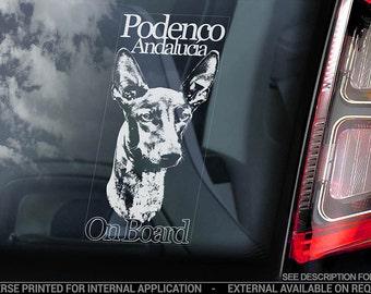 Podenco on Board Ibicenco Warren Hound Dog Sign Decal V04 Car Window Sticker