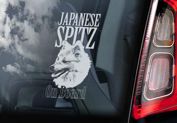 Japanese Spitz on Board  - Car Window Sticker - Dog Sign Decal  -V01