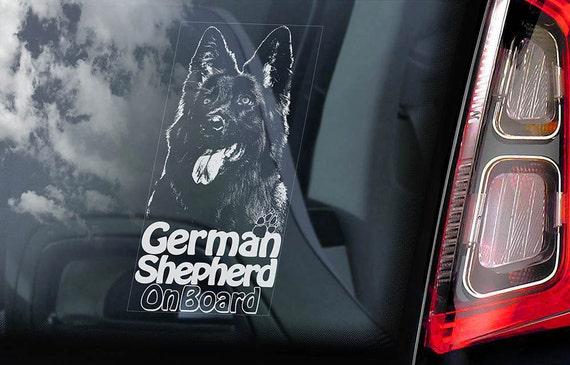 German Shepherd on Board - Car Window Sticker - Black Alsatian K9 Dog Sign Decal -V12