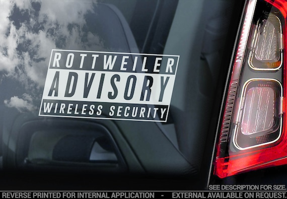 Rottweiler Security - Car Window Sticker - Rottie on Board Beware of the Dog Sign Bumper Decal - V07