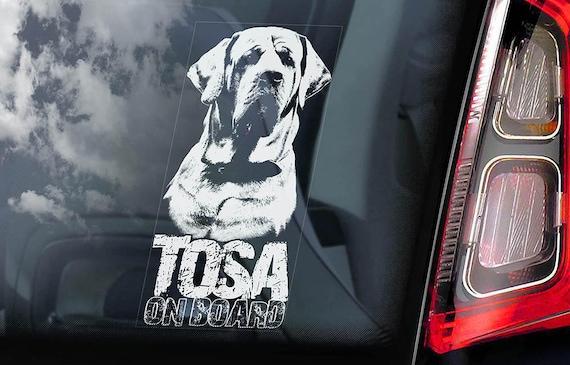 Tosa on Board - Car Window Sticker - Japanese Mastiff Inu Dog Sign Decal Art Gift - V05