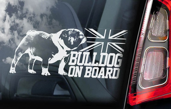 Bulldog on Board  - Car Window Sticker - British English Bully Dog Sign Decal  -V01