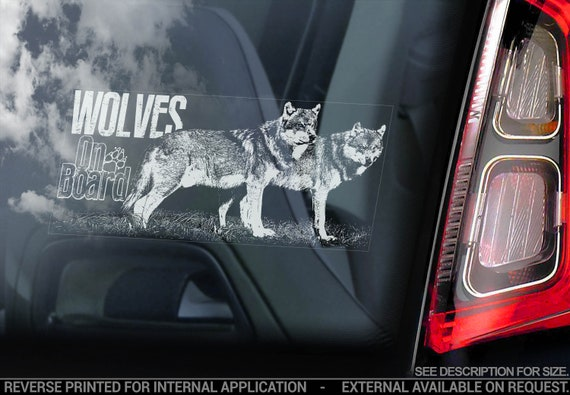 Wolves on Board - Car Window Sticker - Wolf Dog Sign Bumper Decal - V01