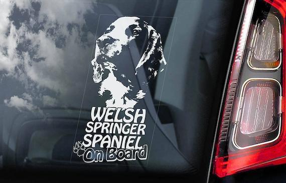 Welsh Springer Spaniel on Board - Car Window Sticker - Cocker Starter Dog Sign Decal - V01