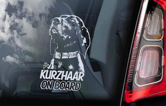 Kurzhaar on Board - Car Window Sticker - Dog Sign German Shorthaired Deutsch Pointer Decal - V03