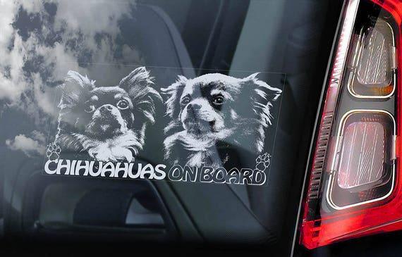 Chihuahuas on Board - Car Window Sticker - Dog Sign Cute Gift Idea Art Decal - V09
