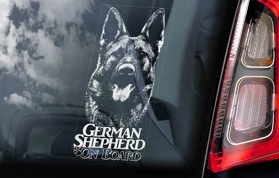 German Shepherd on Board - Car Window Sticker - Alsatian Dog GSD Sign - Decal -V07