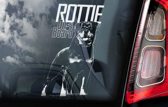 Rottweiler on Board - Car Window Sticker - Rottie Beware of the Dog Sign Decal -V03