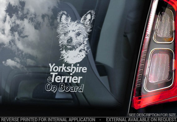 Yorkshire Terrier on Board - Car Window Sticker - Yorkie Bumper Sign Cute Gift Decal - V06