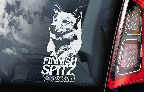 Finnish Spitz on Board - Car Window Sticker - Finsk Spets Dog Sign Gift Decal - V01