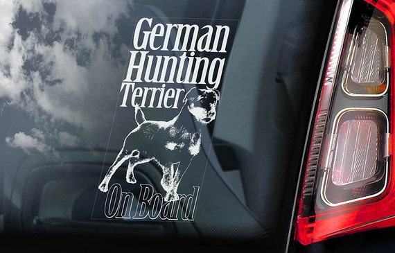 German Hunting Terrier on Board - Car Window Sticker - Deutscher Jagdterrier Dog Sign Decal -V01