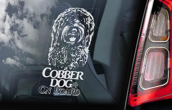 Cobber Dog on Board - Car Window Sticker - Australian Cobberdog Sign Art Decal - V01