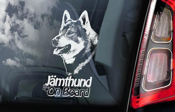 Jämthund on Board  - Car Window Sticker - Swedish Elkhound Moosehound Jamthund Dog Sign Decal  -V01