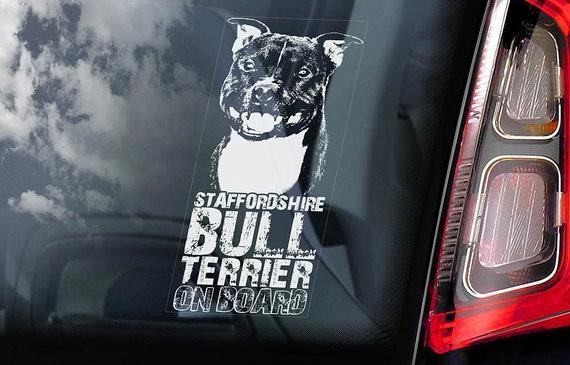 Staffordshire Bull Terrier - Car Window Sticker - Dog on Board Sign Decal Staffie Staffy -V07