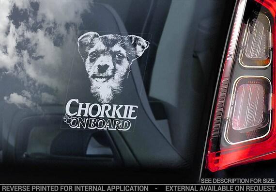 Chorkie on Board - Car Window Sticker - Mixed breed Yorkie Dog Sign Art Decal - V02