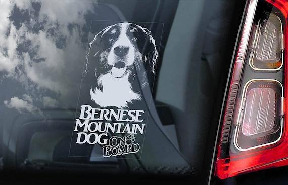 Bernese Mountain Dog on Board - Car Window Sticker - Berner Sennenhund Sign Decal Art Gift - V02