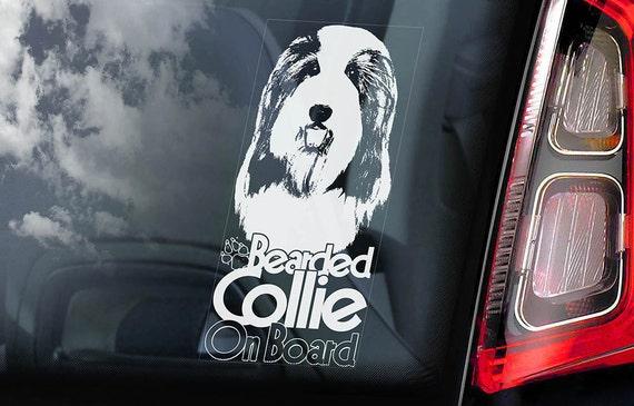 Bearded Collie on Board - Car Window Sticker - Highland Mountain Dog Sign Decal Art Gift - V02