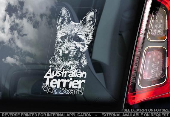 Australian Terrier on Board - Car Window Sticker - Aussie Dog Sign Decal Gift - V02