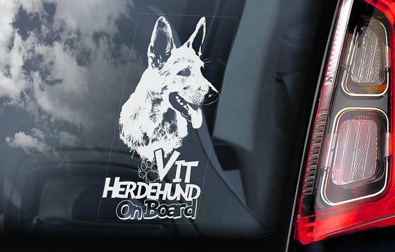 Vit Herdehund on Board - Car Window Sticker - White Shepherd Berger Blanc Suisse Dog Sign Decal - V01