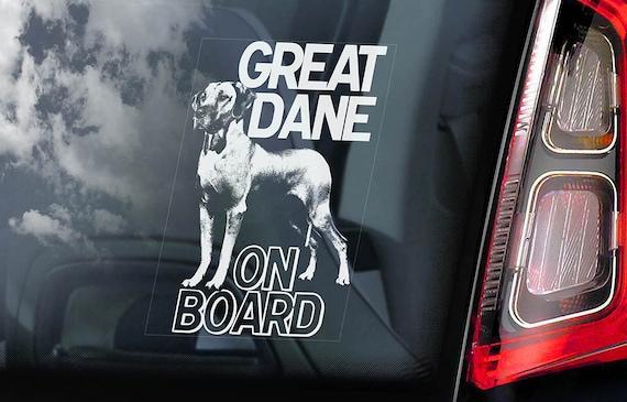 Great Dane on Board - Car Window Sticker - German Mastiff Dog Sign Decal - V01
