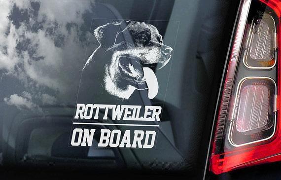 Rottweiler on Board - Car Window Sticker - Rottie Dog Sign Decal -V01
