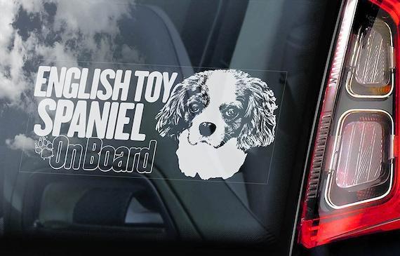 English Toy Spaniel on Board - Car Window Sticker - Prince Charles Blenheim Dog Sign Gift Decal - V01