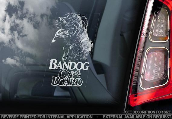 Bandog on Board - Car Window Sticker - Beware of the Dog Bandogge Sign Decal - V06