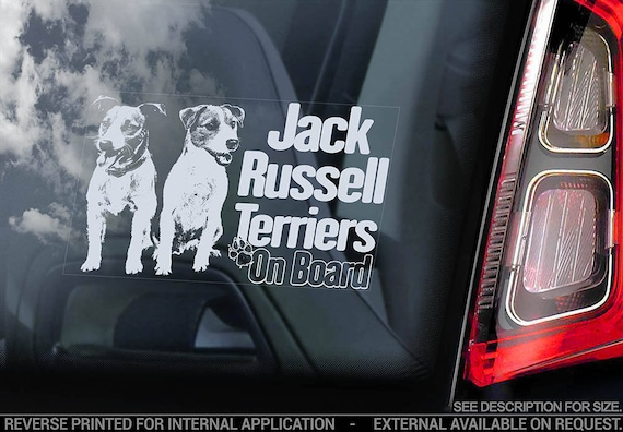 Jack Russell Terriers on Board  - Car Window Sticker - Russel JRT Dog Sign Decal - V06