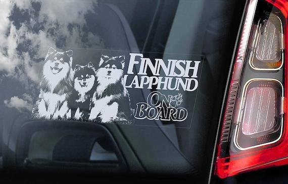Finnish Lapphund on Board - Car Window Sticker - Lapinkoira Dog Sign Gift Decal - V02